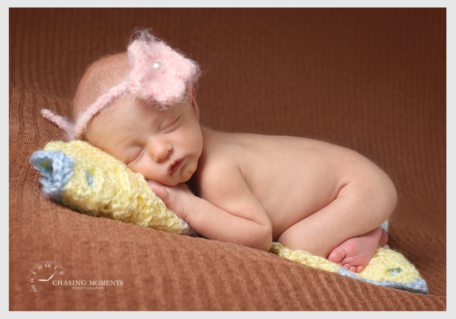 professional posed picture of newborn baby asleep
